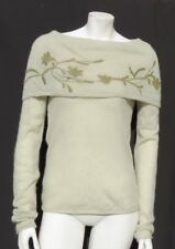 SLEEPING ON SNOW Anthropologie Green Embroidered Soft Alpaca Wool Sweater size S