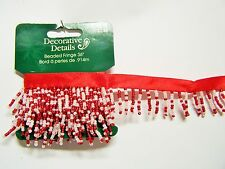 One yard RED & WHITE Glass Beaded Ribbon Trim Sewing Craft Supply Embellishment