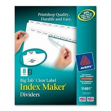 Brand New AVERY Index Maker with Big Tab Dividers, 11491, 8 Tab, White 1 set