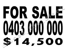 FOR SALE Car Sign Decal, Phone Number & Price or Text - H. Q. vinyl - 34cmx23cm