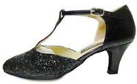 MONDIAL SHOES 01 scarpe da ballo donna tacco 60/R nere basse lucide brillantini