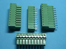 50 pcs 3.81mm 10 way/pin Screw Terminal Block Connector Green Pluggable Type New