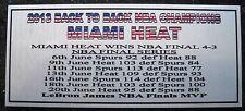 MIAMI HEAT NBA 2013 Champions silver plaque free post****