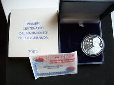 manueduc   ESTUCHE FNMT ESPAÑA 2002 LUIS  CERNUDA  PROOF PLATA 925 mm