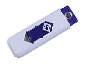 Briquet USB Blanc / Bleu Ecologique Rechargeable Prise USB