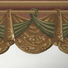 Victorian Swag Draping on Golden Brown  - 60 feet ONLY $30 Wallpaper Border A308
