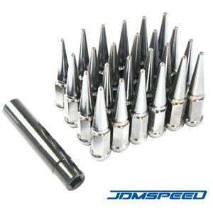 """24 PCS Chrome Spike Lug Nuts 14x1.5 For Chevy Silverado Tahoe 4.4"""" Tall w/ Key"""