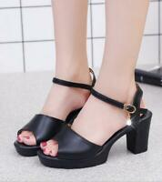 Fashion Womens Summer Open toe Sandals CHUNKY HEELS Ankle Strappy Buckle Shoes