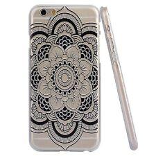BOHEMIAN BLACK HENNA FLOWER MANDALA IPHONE 6 CLEAR PHONE CASE*