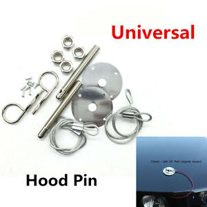 "Muscle Car 3/16"" Hair Pin Style Hood Pin Engine Lock Set w/ Lanyards 1/2"" Studs"