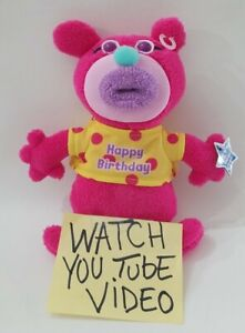 "Sing-A-Ma-Jigs Pink Bear Plush SINGS  ""HAPPY BIRTHDAY TO YOU"" Fisher Price 2011"