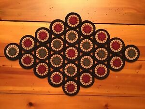 PRIM WOOL FELT PENNY RUG TABLE RUNNER CANDLE MAT GREAT WINTER CHRISTMAS COLORS