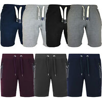 Mens Sweat Summer Jogger Plain Rib Fleece Jersey Jogging Shorts Zip Pocket S-XXL