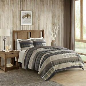 BEAUTIFUL COZY LODGE HUNTING LOG CABIN BROWN SOUTHWEST TAN BEIGE PLAID QUILT SET