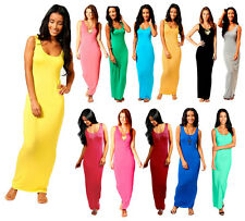 Ladies Womens Racer Back Maxi Dress Fancy Dress Parties Summer Sleeveless Maxi