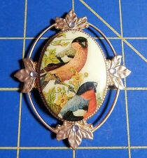 Framed Red Breasted Finches~Magnetic Needle Minder Tool