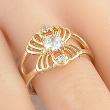 Gold Plated White Cubic Zircon Butterfly Ring Size 5 Yellow Women Girl Big