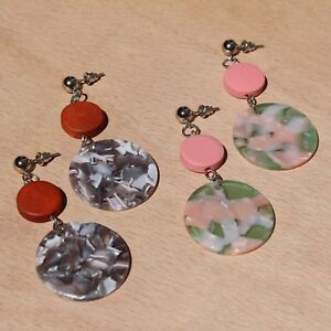 Acrylic Wooden Bead Dangle Statement Earrings. Tortoise Shell Acetate Topshop