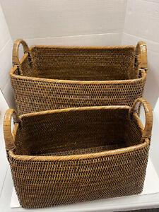 Pottery Barn Bristol Rattan Square Handled Baskets Set of 2