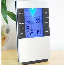 Digital Hygrometer LCD Indoor Thermometer Temperature Humidity Meter Gauge Clock