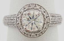 1.28 ct 14K White Gold Round Cut Diamond Halo Engagement Ring EGL Rtl $7,200