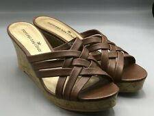 "Montego Bay Club 6.5 M Womens Brown Platform Sandal Shoes 3"" Wedge Heels Mules"
