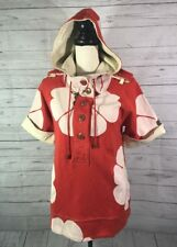 Marc Jacobs Vtg Womens Hoodie Jacket Sz M Persimmon Petal Puff Sleeve Pockets