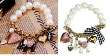 B16 Betsey Johnson Pearl String Black White Elephant & Heart Beaded Bracelet US