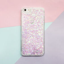 Bling Heart Glitter Liquid Soft Side Hard Back Case Cover for iPhone X 6 7 8plus for Samsung S7 Pink
