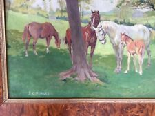 Large Country Oil Painting Horses In Paddock Stanley Charles Rowles