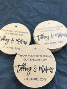 10 Kraft Brown Gift Tags Wedding Favour Bomboniere Personalised Thank you