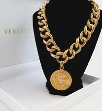 $975 Authentic VERSACE ICONIC MEDUSA MEDALLION Gold-Toned Chain Chunky Necklace