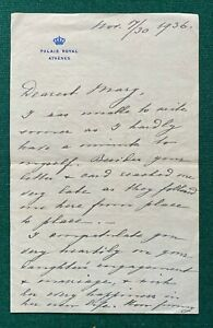 Antique Signed Letter Grand Duchess Helen Romanov Russia Greece 1936 Athens