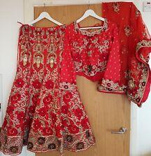 Asian Indian Red Bridal Lengha Long Sleeves New Pakistani Wedding Dress Large 14