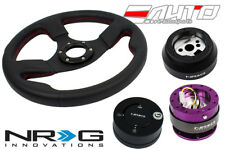 NRG 320 Race Leather Steering Wheel Red/170 Hub/2.0 PP Quick Release/Lock Matt a