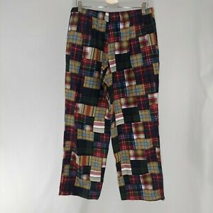 J. Crew Pajamas Pants Mens Red Plaid Madras Patchwork Drawstring Straight Lounge