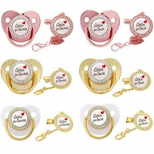 Princess Prince Baby Pacifier Clip Chain Bling Pacifier for Infant Dummy Soother