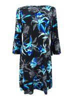 Tommy Hilfiger Women's Floral Printed Bell-Sleeve Dress (8, Black Multi)