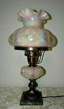 Beautiful FENTON ART GLASS Pink Student Lamp Iridescent Highly Ruffled Shade