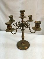 Vtg 4 Arm Solid  Brass Candelabra  11in Candle Holder Heavy