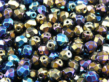 50pcs Fire Polished Czech Glass Beads Round 6mm Heavy Metal Mix (6FP006)