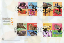 United Nations 2017 FDC Endangered Species JIS Romania 16v Cover Birds Stamps
