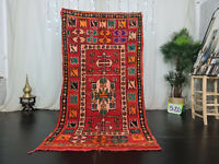 "Moroccan Vintage Handmade Wool Rug 4'2""x8' Berber Bohemian Red Tribal Carpet"