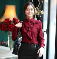 Womens Long Sleeves Formal Tops High Neck Frilly Shirt Blouse Tops Stand Collar