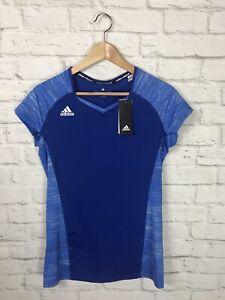 NEW Adidas Womens Blue Volleyball Quickset Cap Sleeve Jersey Shirt Size Medium