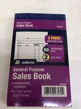 NEW LOT OF 3 Adams Sales Books, Carbon Copy Sheets 50 Receipts Per Book