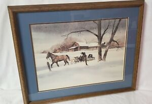 Signed Steve Polomchak Amish Winter Sleigh Ride Watercolor Framed Painting Print