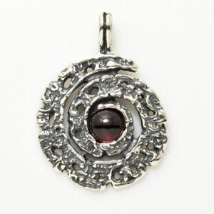 Infinite Spiral Pendant solid .925 Sterling Silver w/ Genuine Garnet gemstone