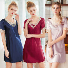 Women's Nightgown Soft Silk Sleepshirt Satin Short Sleeve Nightshirt Sleepwear