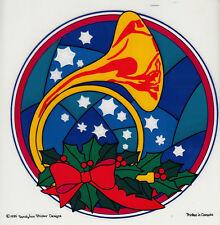 Rare Vtg JUMBO Sandylion Transparent Sticker Sheet - Christmas French Horn Holly